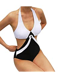 zlolia Mujer bañadores traje de baño de una pieza Push Up Bikini traje de baño de Patchwork, Negro, L