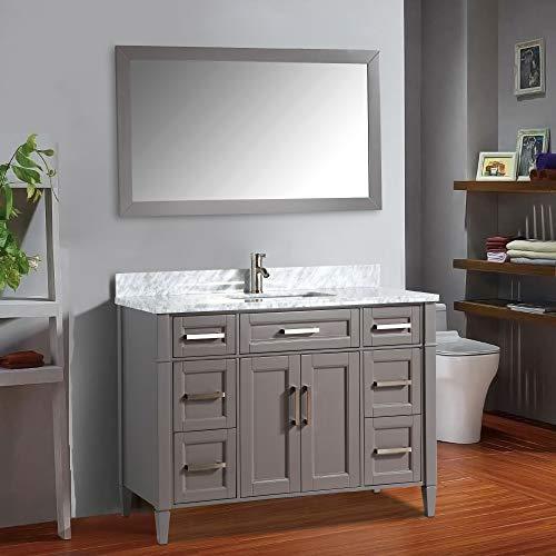 (Vanity Art 60 Inch Bathroom Vanity Set with Carrara Marble Stone with Free Mirror VA2060-G )