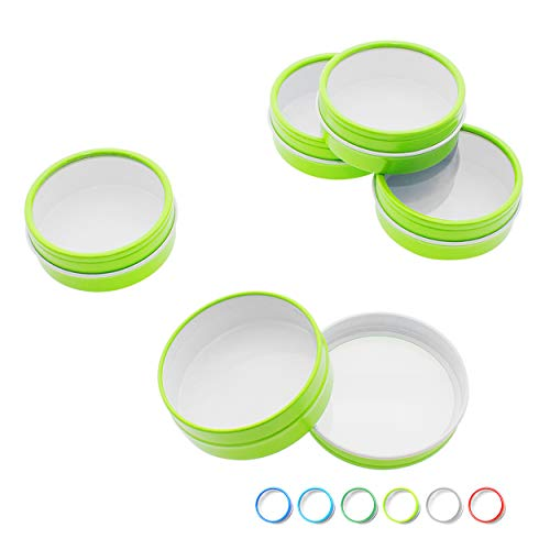 - Mimi Pack 1 oz Tins 24 Pack of Shallow Window Top Round Tin Containers with Lids For Cosmetics, Party Favors and Gifts (Lime Green)