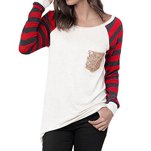- Xinantime Raglan Long Sleeve Sweatshirt Pocket Women Stripe Patchwork Sequins T-Shirt Pullover Blouse Tops White