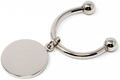 Silver Round Horseshoe Screwball Keychain with Single-Side Easy-Open Key Holder