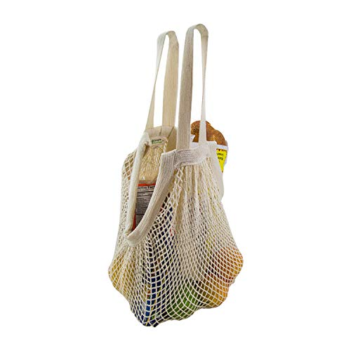 Simple Ecology Organic Cotton Reusable Market, Beach, Grocery Shopping String Bag - Natural 3 Pack (heavy duty, durable wide dual hand & shoulder handles, large stretchable tote, foldable, washable)