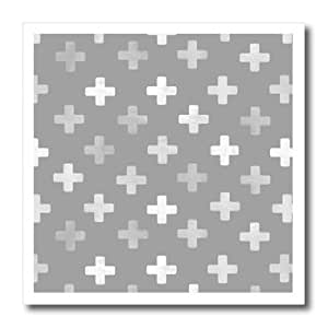 ht_184983_3 InspirationzStore patterns - Gray Swiss Cross pattern - grey plus design - textured pluses crosses - Iron on Heat Transfers - 10x10 Iron on Heat Transfer for White Material