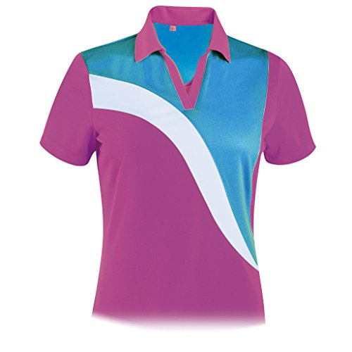 Monterey Club Ladies Dry Swing Ruby Colorblock Shirt #2302 (Boysen Berry/Dark Teal, Medium)