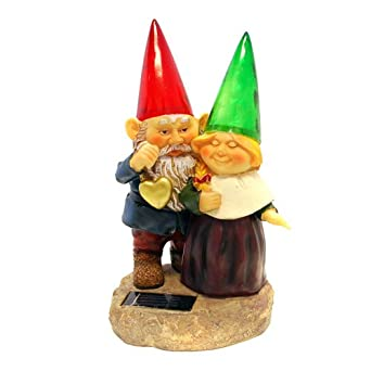 Gnomes Holding Hearts And Flower With Solar Powered Light Garden Statue Yard  Art Outdoor Patio