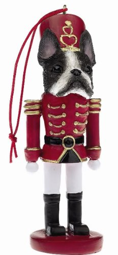 Boston Terrier Christmas Nutcracker Soldier Personalizable Resin Ornament