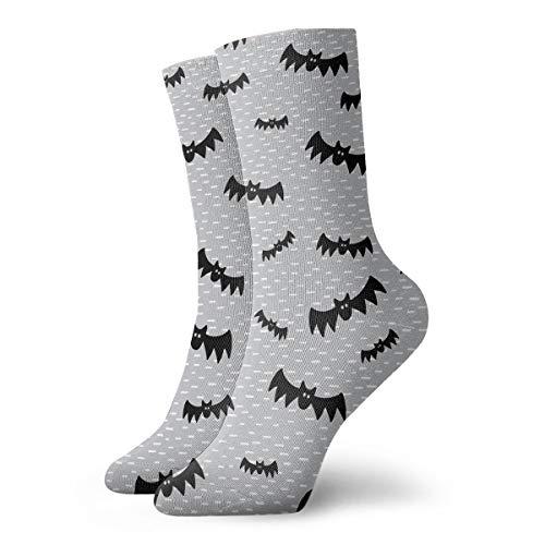 Halloween Bats On Grey Men Women's Casual Athletic Stoking 30CM Crew Socks -