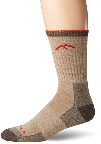 Performance Micro Sock - Darn Tough Vermont Men's Merino Wool Micro Crew Cushion Hiking Socks, Oatmeal, Large(10-12)