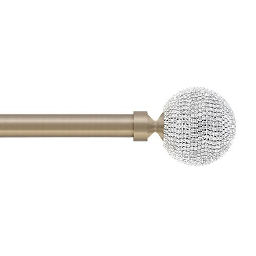 Rhinestones in Satin Brass, Crystals New York Collection, Curtain Rod by Sheffield Home, 36 to 66-Inch