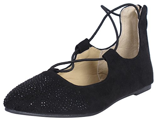 'Eddie Marc Toddler Girls and Big Girls Ballet Flat with Sequins and Ankle Straps, Black, Size 7'