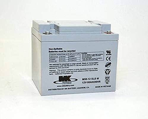 MK Powered - Batería Plomo AGM M50-12 SLD M 12V 50Ah M6-F: Amazon.es: Electrónica
