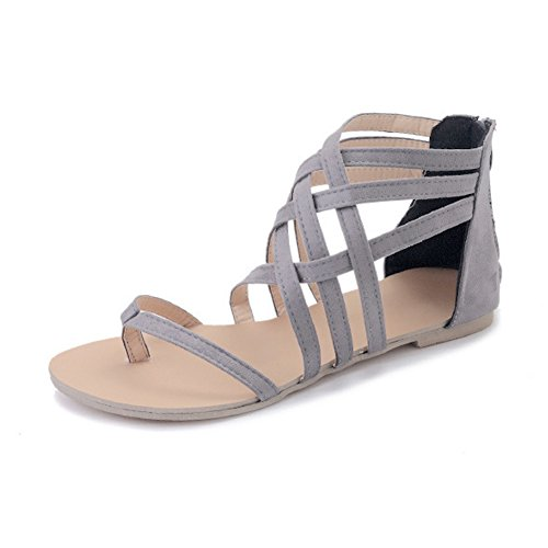 Lanremon Women's Summer Suede Leather Gladiator Strap-Wrapped Thong Flat Roman Open Toe Sandals Gray 9 Gray Womens Sandals
