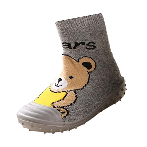 (Fire Frog Infant Baby Cartoon Patterned Soft Rubber Bottom Anti-Slip Floor Socks Boots (12-16 Months, Short Bear Grey) )