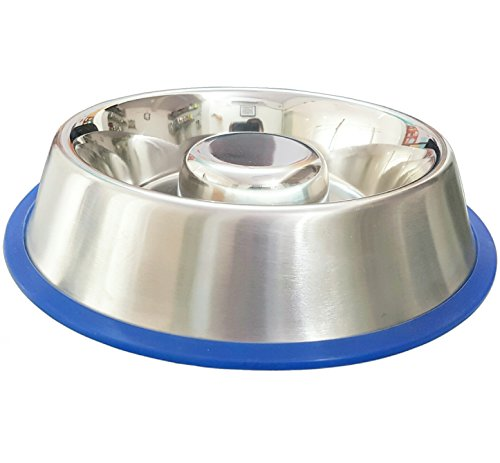 Stainless Steel Interactive Slow Feed Dog Bowl with a Silicone Base by Mr. Peanut's, Fun Healthy Bloat Stop Feeder (Medium) - Steel Feed
