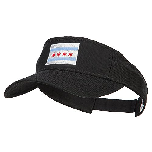 Chicago City Flag Embroidered Pro Style Cotton Washed Visor - Black OSFM by e4Hats.com (Image #5)