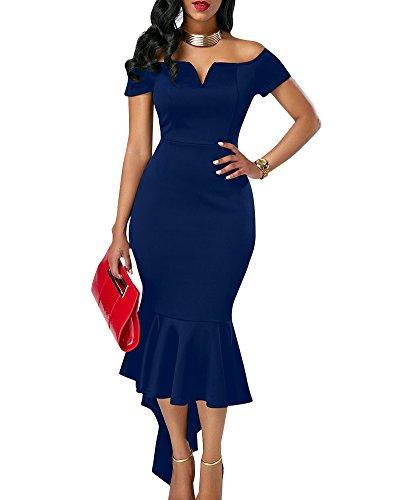 Mujeres Swallowtail V Tirantes De Cuello Sin Vestido Apretado Zafiro Falda Corta Azul Otoño Manga rtwPqIrx