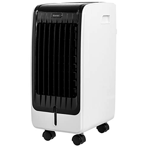 COSTWAY Air Cooler, Portable Evaporative Air Cooler with Fan & Humidifier Bladeless Quiet Electric Fan w/Remote Control for Indoor Home Office Dorms (24.5