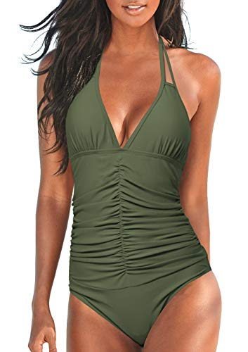Upopby Women's Halter Push up One Piece Swimsuits Backless Monokini Ruched Tummy Control Bathing Suits Plus Size Swimwear Army Green 12