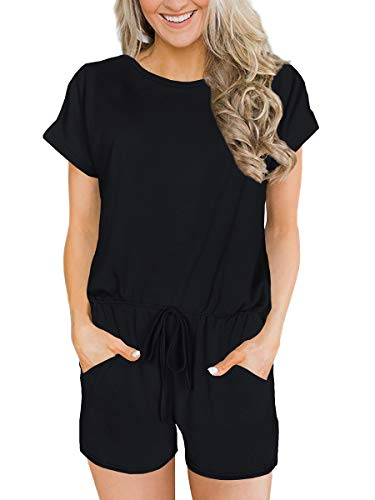 Womens Rompers Solid Elastic Waist Jumpsuit Casual Short Sleeve Summer Outfits Black L