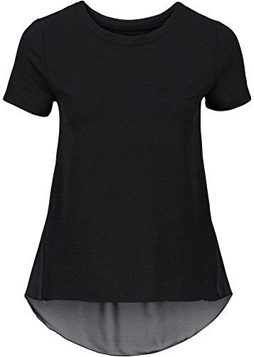 Damen Shirt mit Chiffon, 198646 in Schwarz
