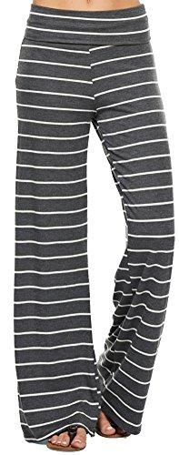 Marilyn & Main Women's Comfy Soft Stretch Pajama Pants, Medium, Charcoal/White Striped