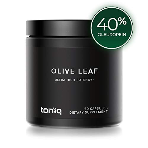 Ultra High Strength Olive Leaf Capsules - 40% Oleuropein - 500mg 22x Concentrated Extract (22,000 mg Raw Powder Equivalent) - The Strongest Olive Leaf Supplement Available
