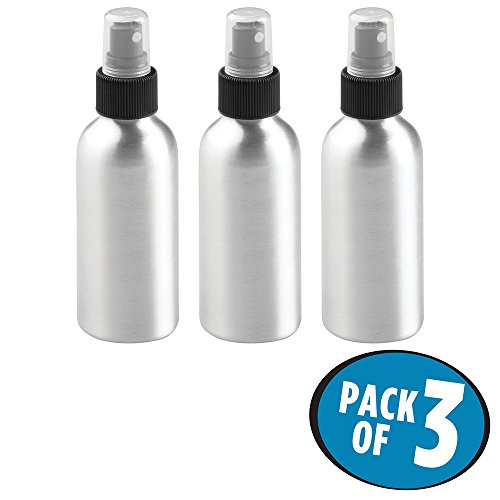 Aluminum Travel Bottle (mDesign Aluminum Rustproof Spray Bottles - Mister, Essential Oils, Cleaning Products Solutions, Aromatherapy - 4-oz, Pack of 3, Brushed Aluminum/Black)