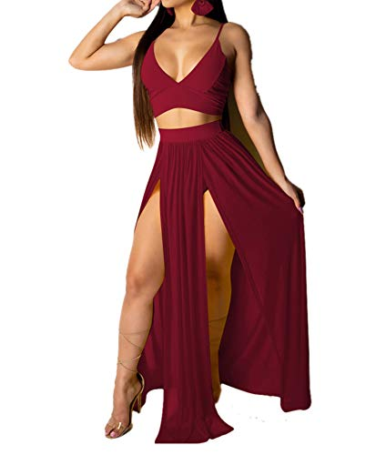Women Sexy Chiffon Strap Deep V Neck 2 Piece Outfits Dress Solid Color Crop Top High Split Maxi Dresses Skirt Set (High Split Maxi Dresses For Women)