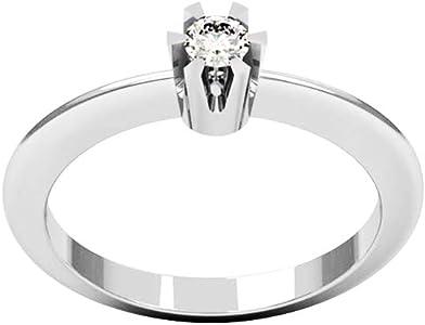 anillo con diamante de oro blanco en forma de corona