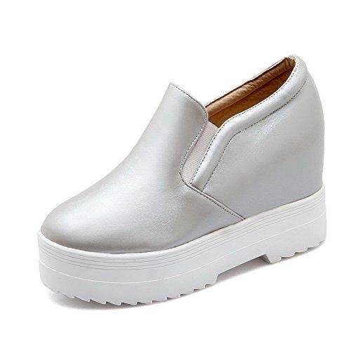 AllhqFashion Damen Ziehen auf Hoher Absatz PU Leder Rein Rund Zehe Pumps Schuhe Silber