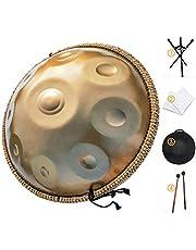 AS TEMAN HANDPAN Tambor de mano in re menor 9 notas Tambor de mano de acero de 22 pulgadas con bolsa de mano suave, mazo de 2 manos, soporte para mano, tela sin polvo, oro