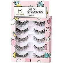 5 Pairs 3D False Eyelashes Flexible Demi Wispies False Lashes Reusable Handmade Cross Fake Eye Lashes for Makeup Natural Looking Black Eyelashes LK LANKIZ (WISPIES)