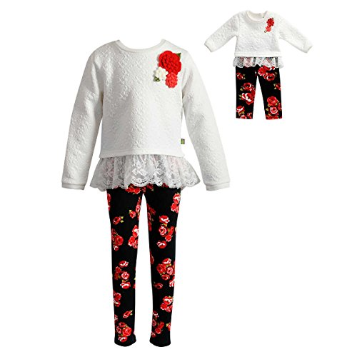 Dollie & Me Girls Legging Set and Matching Doll Outfit (Quilted Ivory, 6) (Dolly And Me Outfits For Girls)