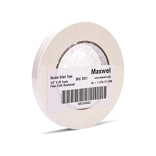 Double Sided Tape Heavy Duty - Maxwel 1/2 Inch 20 Yard Removable Strong Adhesive Thin White Double Sided Duct Tape for Mounting, Outdoor, Industrial (Pack of 1 Roll)