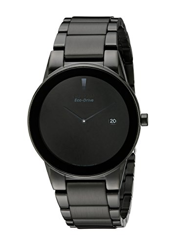 Eco Drive Black Dial Watch (Citizen AU1065-58E Axiom Eco-Drive J165 Black Stainless Steel Bracelet Watch)