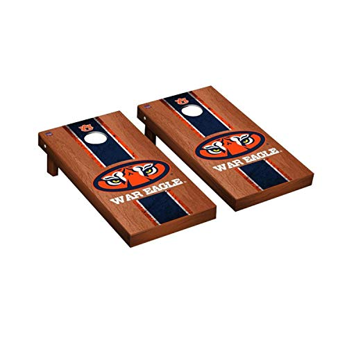 (Victory Tailgate Regulation Collegiate NCAA Rosewood Stained Stripe Series Cornhole Board Set - 2 Boards, 8 Bags - Auburn Tigers War)