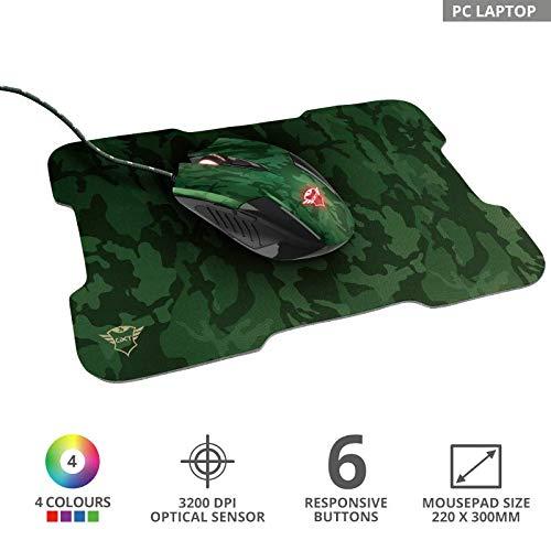 Combo Mouse Gamer 3200dpi 6 botões LED + MousePad Emborrachado - Trust
