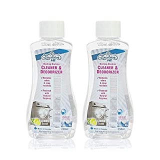 Excelsior HE Washing Machine Cleaner and Deodorizer, Removes Odors & Residues for 5 Cleanings of High Efficiency Washers, Lemon Scent, 250ml Bottles, Dual Pack