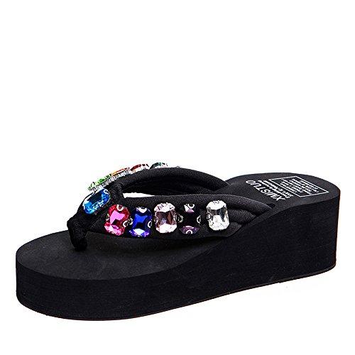 Donna Blu nero Fiori Estate Dentellare Di Spiaggia Rhinestones Scarpe 5 Da Haizhen Modo Per Donne Le scarpe Cm Nero Pantofole Marrone Vibrazione Dei 5 Bianco tnqATw40a