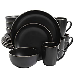 Gibson Rockaway Dinnerware Set, 16 Piece, Black with Gold Rim