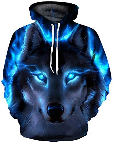 (KIDVOVOU Unisex Realistic 3D Digital Print Pullover Hoodie Hooded Sweatshirt,Blue Lighting Wolf,Large/X-Large)