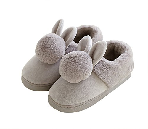 AGOWOO Girls Womens Cute Bunny Fuzzy Indoor Bootie Slippers Grey Zv9DJVLb