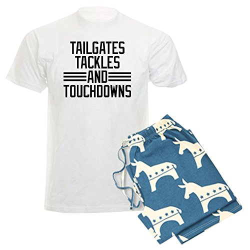 (CafePress - Tailgates Tackles and Touchdo - Unisex Novelty Cotton Pajama Set, Comfortable PJ Sleepwear)