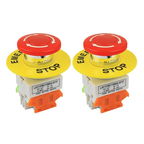 Nxtop 2PCS Red Mushroom Cap 1NO 1NC DPST Emergency Stop Push Button Switch AC 660V 10A