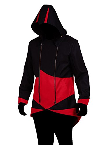 Cos2be Hoodie Jacket Coat (Black&Red,Men-XL)