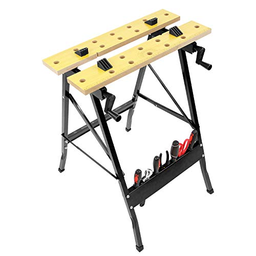 - Work-It! Portable Workbench, Folding Carpenter Saw Table with Adjustable Clamps - Easy to Transport with Heavy-Duty Steel Frame, 150 Lbs Capacity