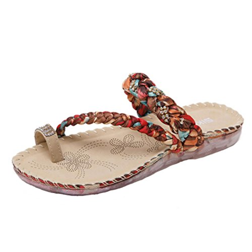 Clip Escarpins Toe Chaussures red Chaussures Plage de SIKETU Chaussons Tongs Plates Sandales Femmes ✿luoluoluo✿ Boho Casual Femme Tongs Wedge Sexy Femme Sandales Femmes de Toe Sandales Plage A40Bqx