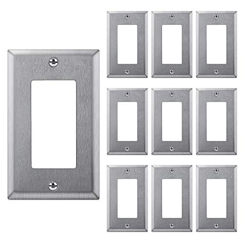 [10 Pack] BESTTEN Decorator Metal Wall Plates, 1 Gang Standard Stainless Steel Outlet Cover, Durable Corrosion Resistant, Industrial Grade 304SS Material, Silver