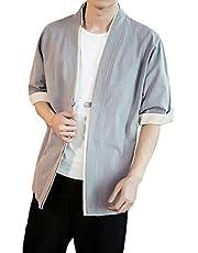 Earlish Men's Kimono Cardigan Linen Open Front Chinese Ethnic Style Yukata Coat Top