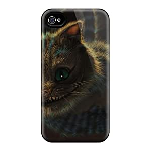 Perfect Hard Cell-phone Cases For Iphone 4/4s (GNR13411DUmT) Unique Design Beautiful Cheshire Cat Image